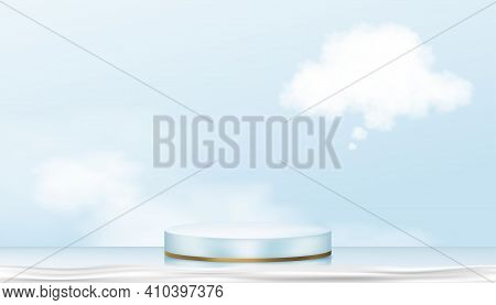 Podium Display In Blue And Yellow Gold Cylinder Stand With Though Fluffy Cloud,vector Realistic 3d F