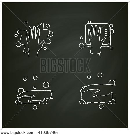 Surface Wiping Chalk Icons Set.housekeeper Hand In Glove Signs Collection.wet Cleaning With Sponge,