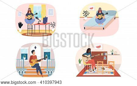 Set Of Illustrations About Musicians Are Playing Strings Alone. People Play Guitar And Listen. Guita