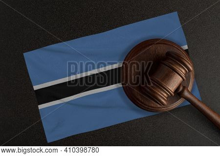 Judges Gavel And The Flag Of Botswana. Law And Justice. Constitutional Law.