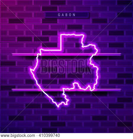 Gabon Map Glowing Neon Lamp Sign. Realistic Vector Illustration. Country Name Plate. Purple Brick Wa
