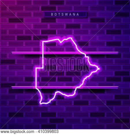 Botswana Map Glowing Neon Lamp Sign. Realistic Vector Illustration. Country Name Plate. Purple Brick