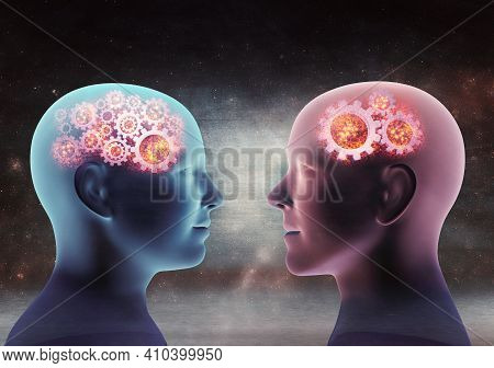 Close Up X-ray Conceptual 3d Render Of Man And Woman Looking At Each Other. Gear Icons In Head Again