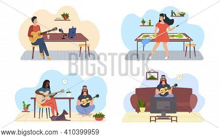 Set Of Illustrations About Musicians Do What They Love. People Play Guitar And Sing To Music. Guitar