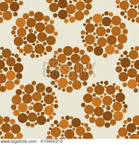 Abstract Pebble Seamless Vector Pattern Background. Small Irregular Size Stones Arranged Into Circle