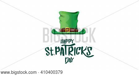 Vector Saint Patricks Day Horizontal Banner With Greeting Text And Green Funky Patricks Hat On White