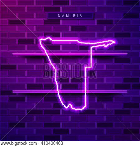 Namibia Map Glowing Neon Lamp Sign. Realistic Vector Illustration. Country Name Plate. Purple Brick