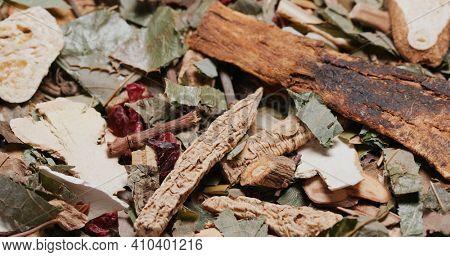 Chinese herbal medicine tea on table