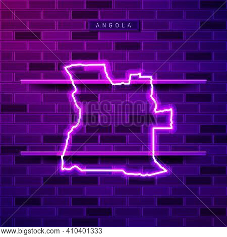 Angola Map Glowing Neon Lamp Sign. Realistic Vector Illustration. Country Name Plate. Purple Brick W