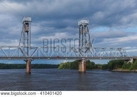 Drawbridge of a vertical-climbing type across the Svir river in Russia