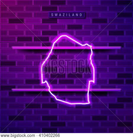 Swaziland Or Eswatini Map Glowing Neon Lamp Sign. Realistic Vector Illustration. Country Name Plate.