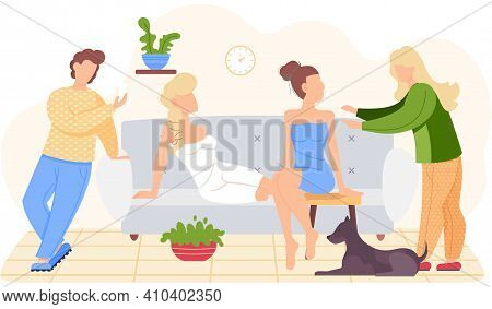 People Are Relaxing At Home. Characters Resting Or Thinking About Something Good. Girls In Underwear