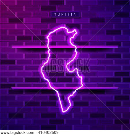 Tunisia Map Glowing Neon Lamp Sign. Realistic Vector Illustration. Country Name Plate. Purple Brick