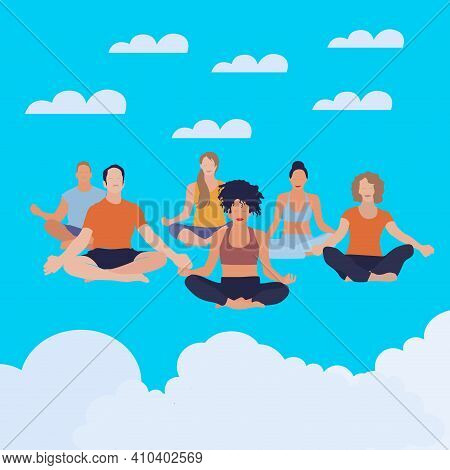 People Meditate In Pose Lotus, Soar In Cloud Sky. Vector Meditation, Exercise Girl Fitness Illustrat