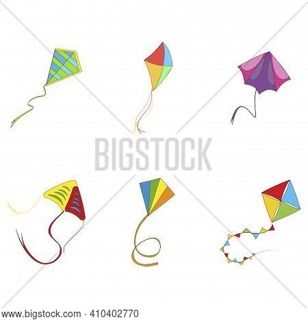 Flying Kite Colored Collection. Vector Flying Kite On Rope, Outdoor Activity Playing, Sankranti Maka