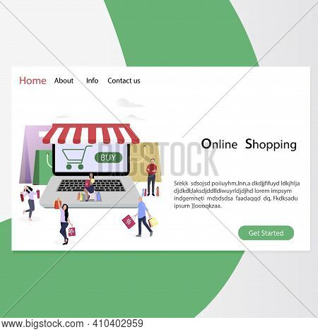 Online Shopping Page, Web Retail And Store. Buyer Retail, Online Purchasing, Commercial Marketing, S