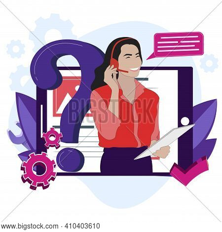 Hotline Service Online, Network Help, Search Faq And Assistance, Cartoon Woman Operator, Professiona
