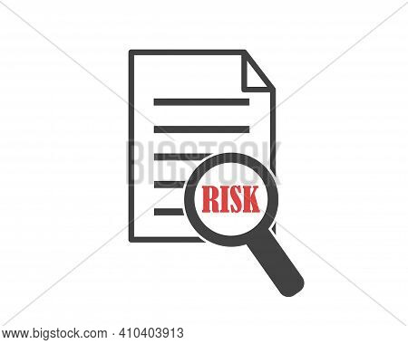 Vector Icon Word Risk In A Magnifier. Danger Of Business Risks.