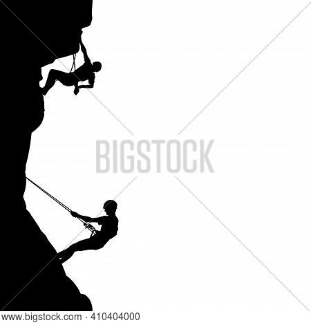 People Climb On Rock, Black Silhouette. Rock Climber Support Partner On Wall. Vector Man Climbing Si