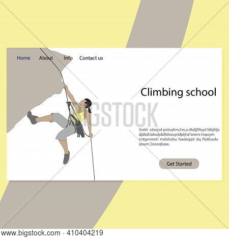 Sport Climbing School Landing Page, Extreme Guide. Mountaineering Service Website, Hanf On Cliff, St