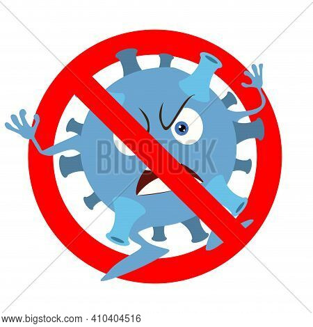 Prohibition Coronavirus Icon, Monster Virus Banned. Non Infected And Not Illness, Ban Micro Organism