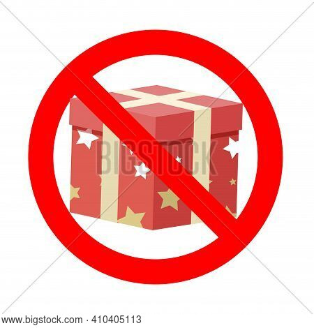 Banned Gift Icon Symbol Badge. Vector Prohibition Banner, Warning Icon Package, Information Rule No