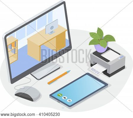Workplace Of Office Worker. Desktop With Computer, Printer, Smartphone And Other Office Objects. Mon