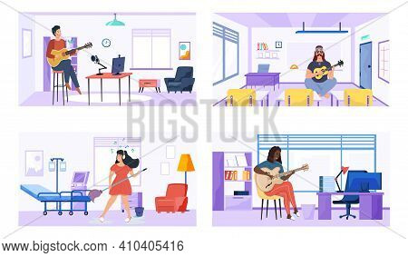 Set Of Illustrations With Performers Practice Chords. Guitarists Compose Songs And Play Music. Music