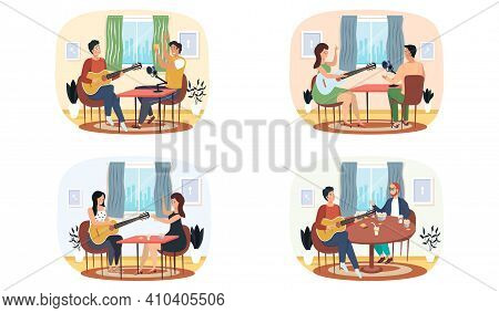 Set Of Illustrations About People Sing Songs With Guitar And Record Audio. Joint Pastime With Music.