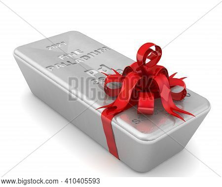 The Highest Standard Palladium As A Gift. One Ingot Of 999.9 Fine Palladium Tied With A Red Ribbon W