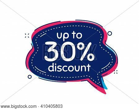 Up To 30 Percent Discount. Thought Bubble Vector Banner. Sale Offer Price Sign. Special Offer Symbol
