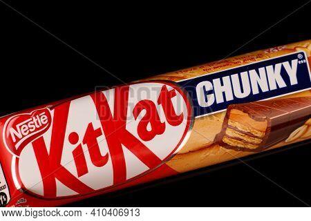 Lviv, Ukraine - February 24, 2021: Kitkat Chunky Delicious And Popular Chocolate