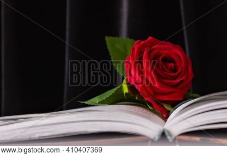 A Red Rose On An Open Book. Funeral Symbol And Concept Of Condolence And Religion.