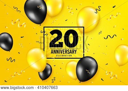 20 Years Anniversary. Anniversary Birthday Balloon Confetti Background. Twenty Years Celebrating Ico
