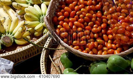 Fruits And Vegetables On Rustic Stall. Assorted Fresh Ripe Fruits And Vegetables Placed On Rustic Or