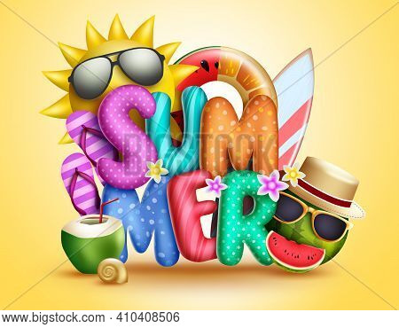 Summer 3d Vector Concept Design. Summer 3d Text With Sun, Fruits Character In Shades And Tropical El
