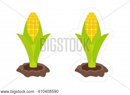 Cartoon Maize Sticker With Die Cut Outline For Kids Game. Abstract Vector Icon Of Corn Cereal Plant