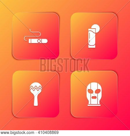 Set Cigar, Tequila Glass With Lemon, Maracas And Mexican Wrestler Icon. Vector