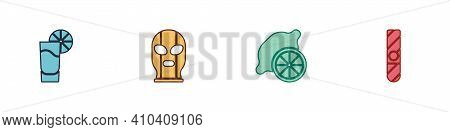 Set Tequila Glass With Lemon, Mexican Wrestler, Lemon And Cigar Icon. Vector