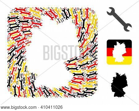 German State Map Hole Mosaic. Hole Rounded Rectangle Collage Composed With Wrench Icons In Various S