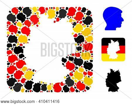 German State Map Hole Mosaic. Hole Rounded Rectangle Collage Composed With Man Head Items In Various