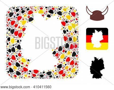 Germany State Map Stencil Mosaic. Stencil Rounded Square Collage Composed With Horned Helmet Element