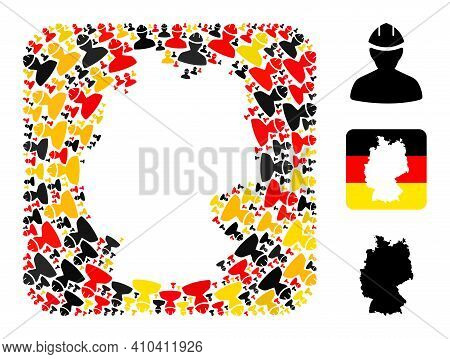 German Map Stencil Mosaic. Stencil Rounded Rectangle Collage Designed From Worker Icons In Variable