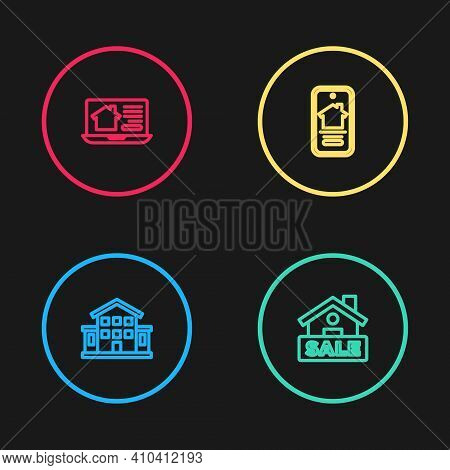 Set Line House, Hanging Sign With Sale, Online Real Estate House And Icon. Vector
