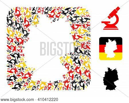 Germany Geographic Map Stencil Mosaic. Stencil Rounded Rectangle Collage Composed With Microscope It