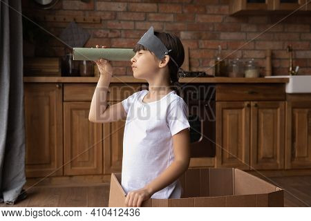 Little Latino Girl Play Pirates Game At Home