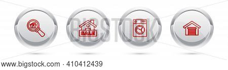 Set Line Search House, Hanging Sign With Sale, Washer And Garage. Silver Circle Button. Vector