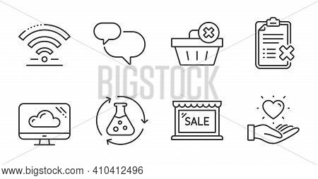 Chemistry Experiment, Wifi And Delete Order Line Icons Set. Sale, Cloud Storage And Chat Message Sig