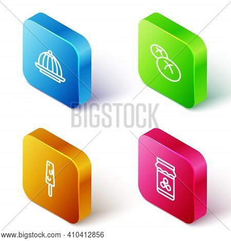 Set Isometric Line Pudding Custard, Bread Loaf, Ice Cream And Jar Of Honey Icon. Vector