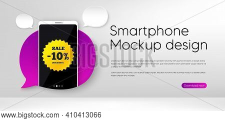Sale 10 Percent Off Banner. Mobile Phone Vector Mockup. Discount Sticker Shape. Coupon Star Icon. Sm